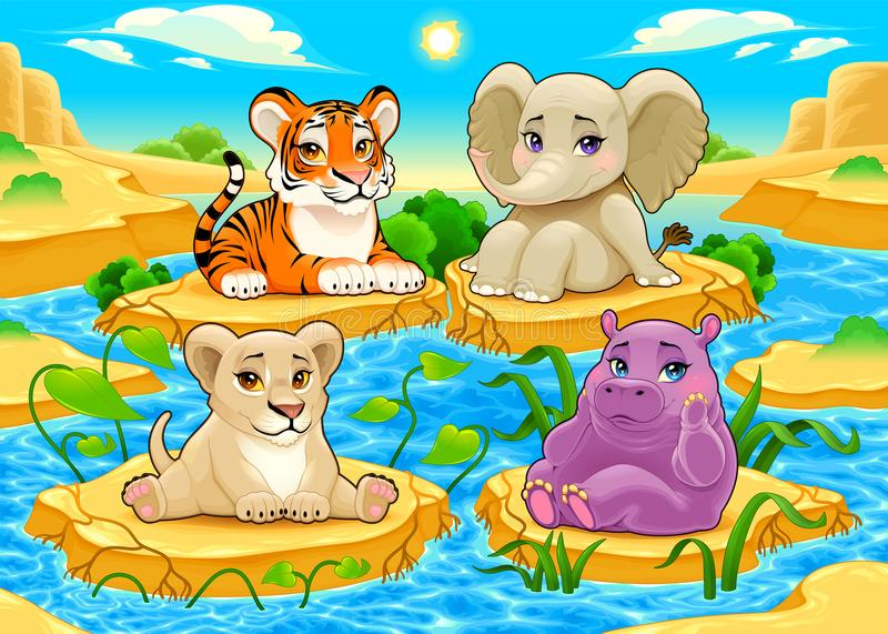 Baby cute Jungle animals in a natural landscape royalty free illustration