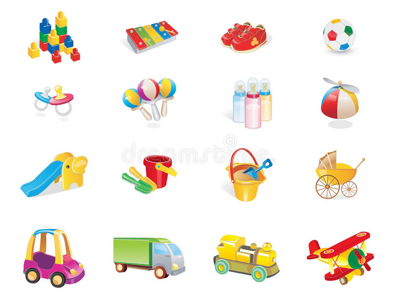 Baby cute playing icons. Baby cute playing web 2.0 icons royalty free illustration