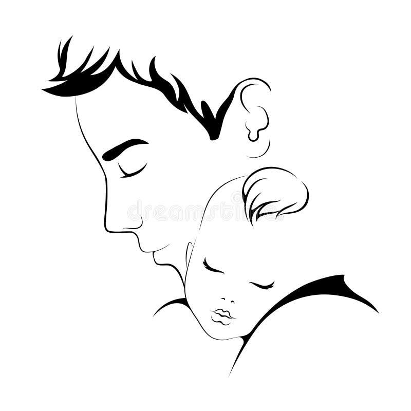 baby daddy Ojciec miłości wektoru ilustracja ilustracja wektor
