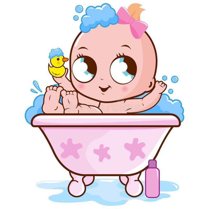 Baby, das ein Bad nimmt lizenzfreie abbildung
