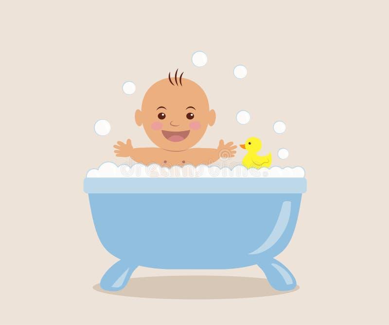 Baby, das im Bad mit Schaum badet stock abbildung