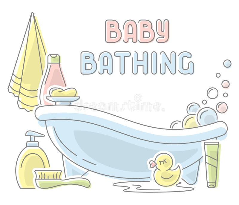 Baby, das Karte badet stock abbildung
