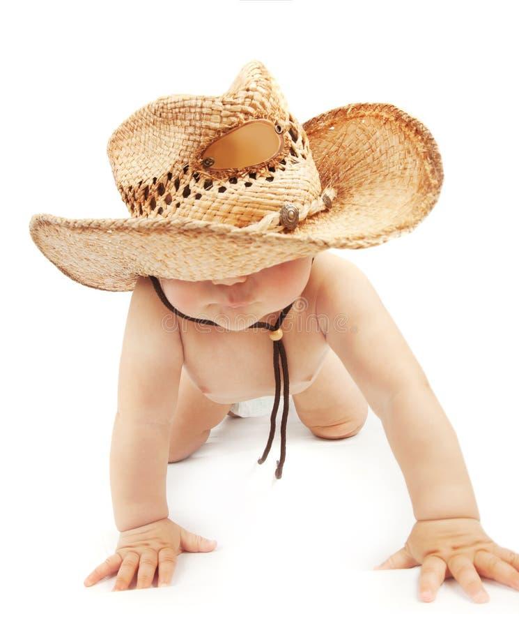 Baby, das Stetson-Hut trägt stockfotografie