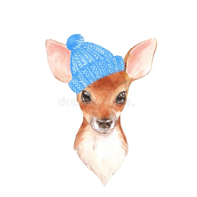 Baby Deer in blue hat. Hand drawn cute fawn royalty free illustration