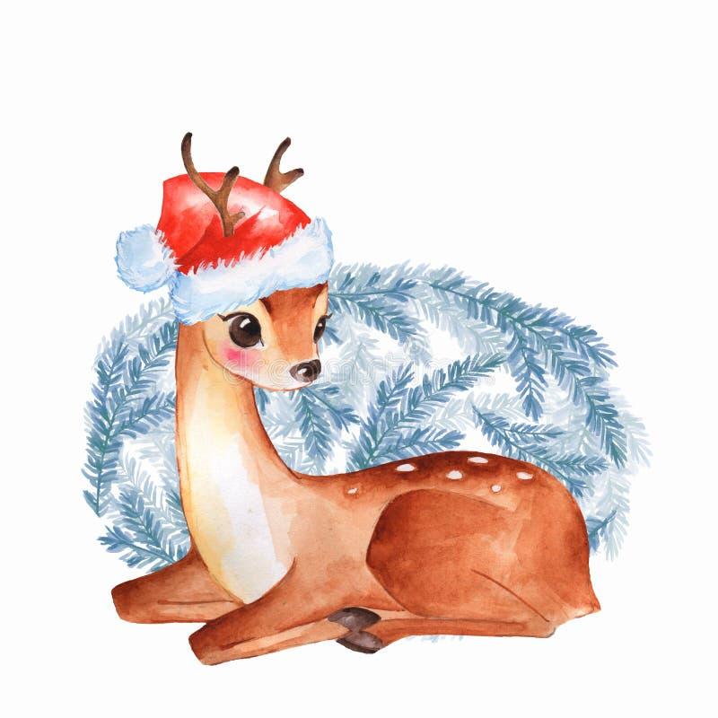 Baby Deer. Cute fawn. Christmas card vector illustration