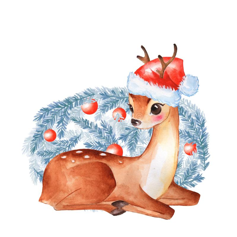 Baby Deer. Cute fawn. Watercolor illustration vector illustration