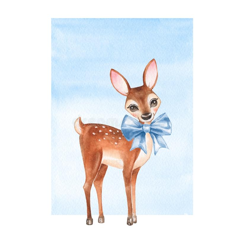 Baby Deer. Hand drawn cute fawn with a bow vector illustration