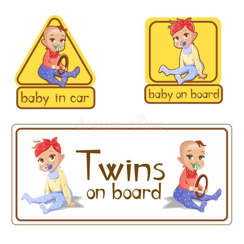 Baby in den Autokennzeichenaufklebern vector Illustration oder Zwillinge an Bord des lokalisierten Satzes der Vorsicht Warnschild vektor abbildung