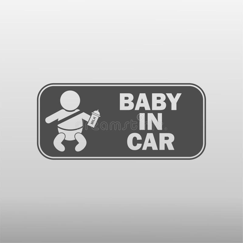 Baby in der Autoikone stockfoto