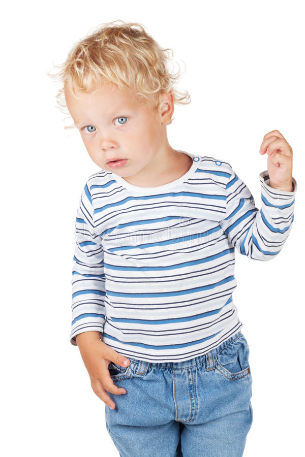 Baby des weißen gelockten Haares und der blauen Augen stockfoto
