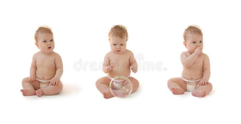 Baby In Diaper Sitting Isolated Collection Royalty Free Stock Photography