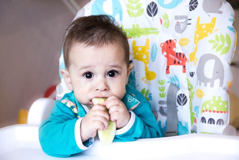 Baby die groenten eten als hoge voorzitter tandjes krijgend, de komkommer, het concept voedsel, het voeden Pasgeboren huis Gezond royalty-vrije stock foto's