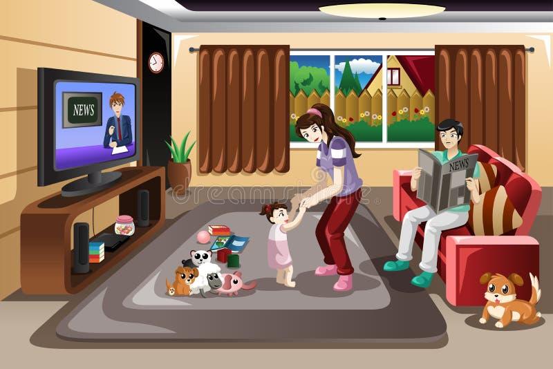 Baby die met haar ouders leren te lopen stock illustratie