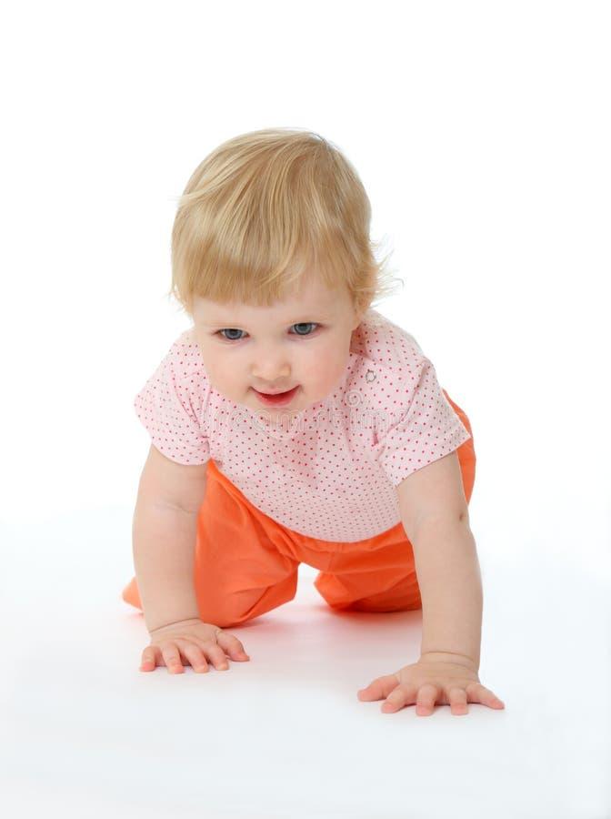 Baby die op alle fours loopt royalty-vrije stock foto's