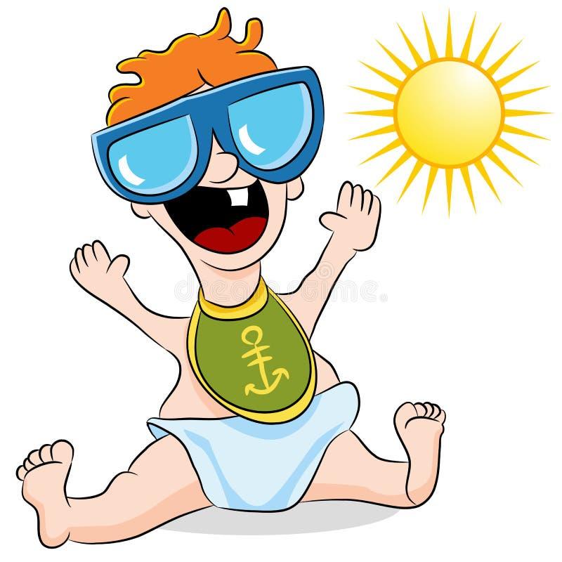 Baby die Zonnebril draagt royalty-vrije illustratie