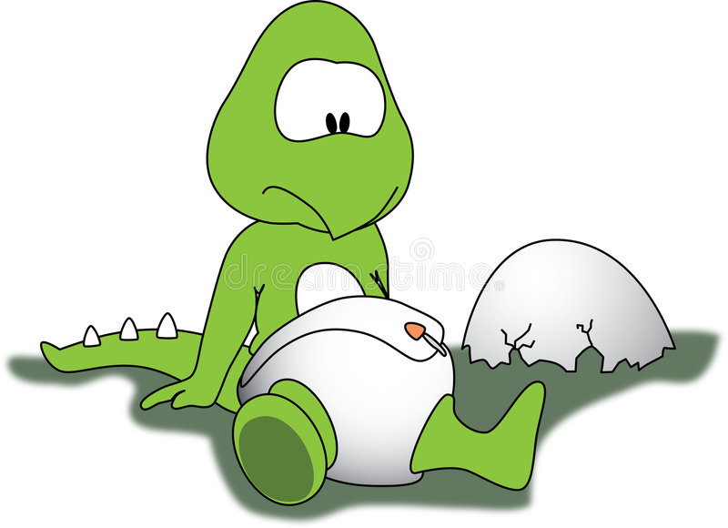 Baby Dino. A dinosaur egg has just hatched, and green baby dinosaur is born excited about his first moments in life. The little green dino is wearing a white vector illustration