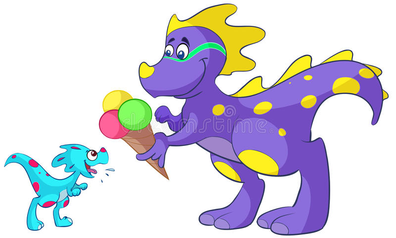 Download Baby dino with ice cream stock illustration. Image of humor - 26574600