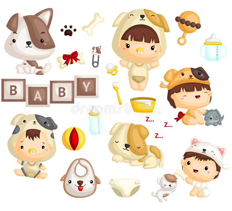 Download Baby in Dog Costume stock vector. Illustration of toys - 97807158  sc 1 st  Dreamstime.com & Baby in Dog Costume stock vector. Illustration of toys - 97807158