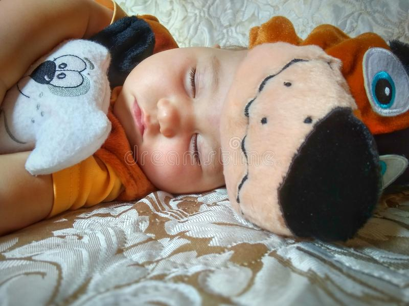 Baby in dog costume. Cute sleeping baby in dog costume with dog toy on beige background stock images
