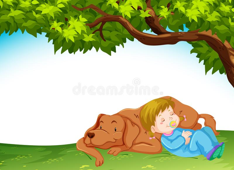 A baby and dog in nature royalty free illustration