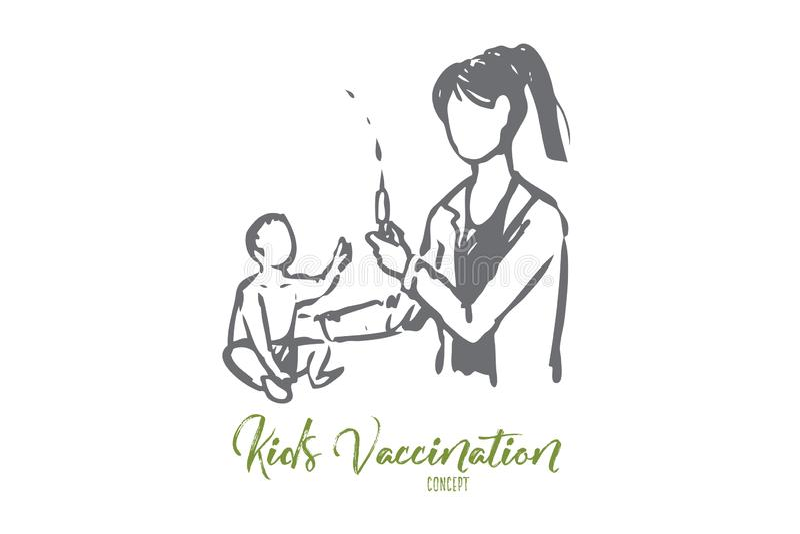 Baby, Doktor, Impf, medizinisch, Klinikkonzept Hand gezeichneter lokalisierter Vektor lizenzfreie abbildung