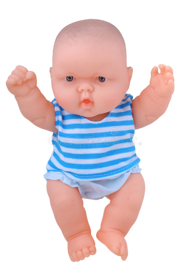 Baby Doll raising hands royalty free stock photo