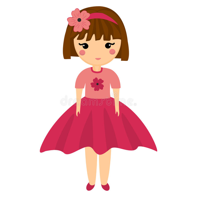 Baby Doll. Very Cute Girl in Pink Clothes. vector illustration
