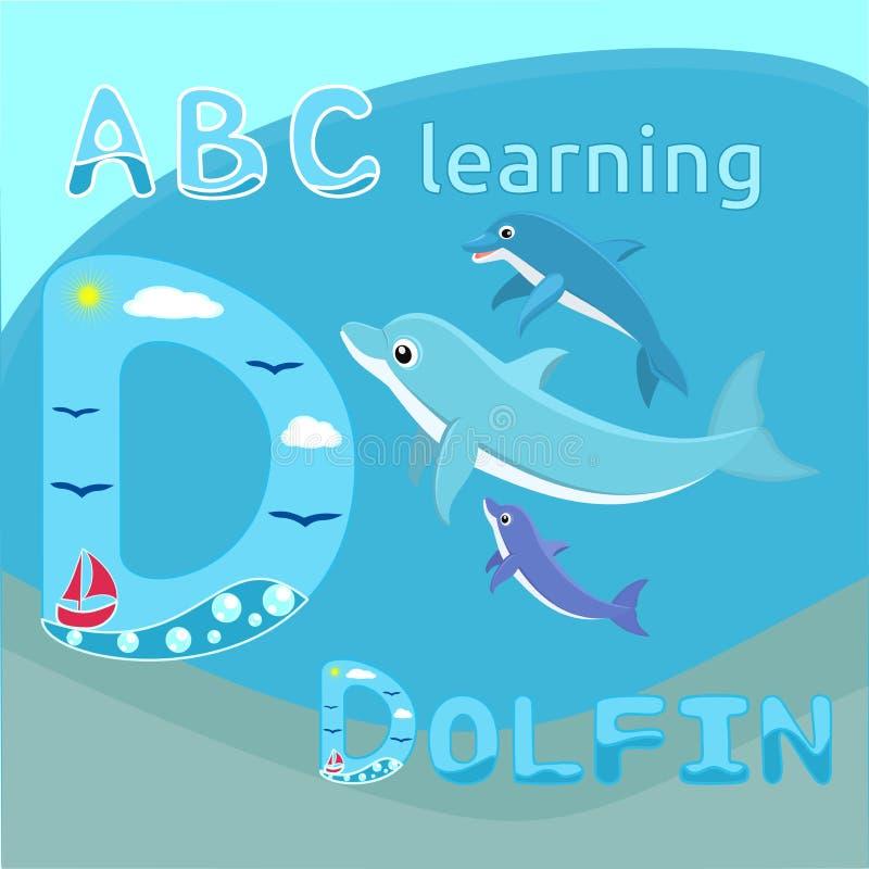 Baby dolphins with mother Dolphin family Cute cartoon dolphin vector illustration Sea mammal vector Sea life theme Happy family ve stock illustration