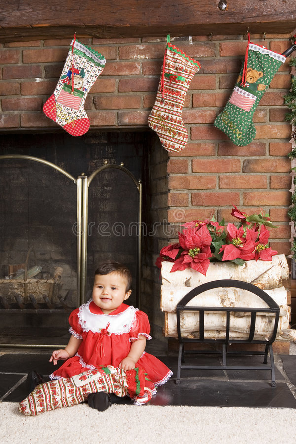 Baby door de Haard royalty-vrije stock foto