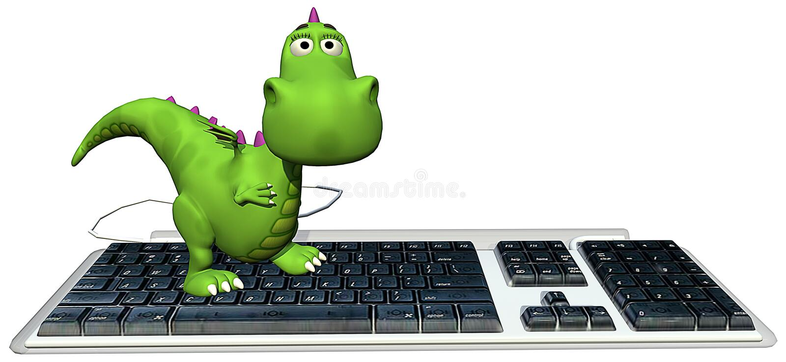 Baby dragon green on keyboard happy. Baby dragon green is walking on the keyboard stock illustration