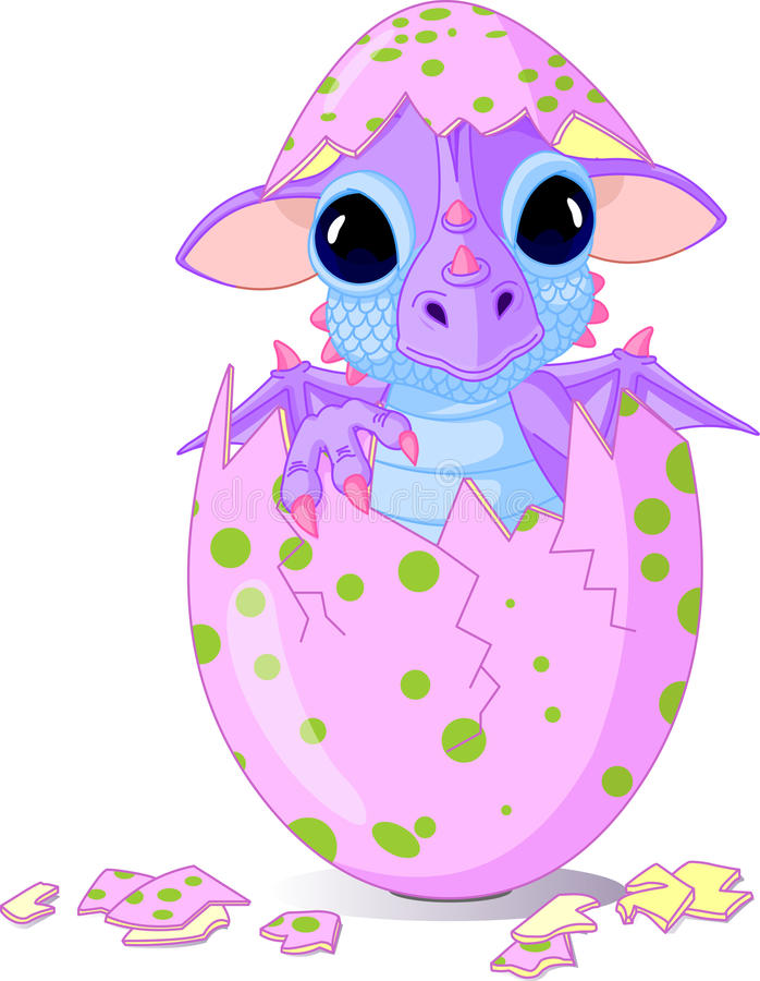 Baby dragon hatched from one egg royalty free illustration