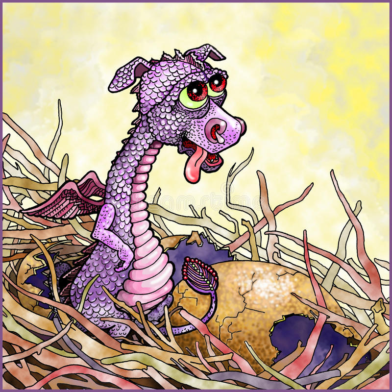 Baby Dragon in a Nest stock photos