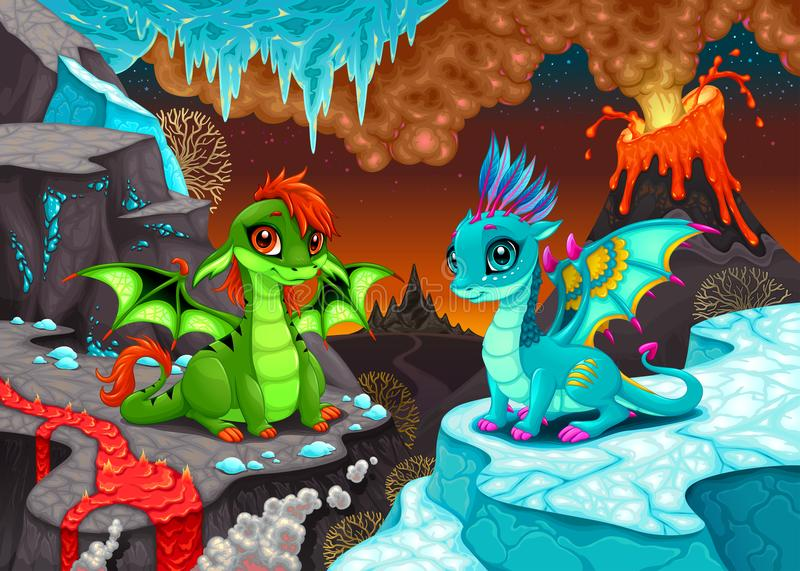 Baby dragons in a fantasy landscape with fire and ice. Cartoon vector illustration vector illustration