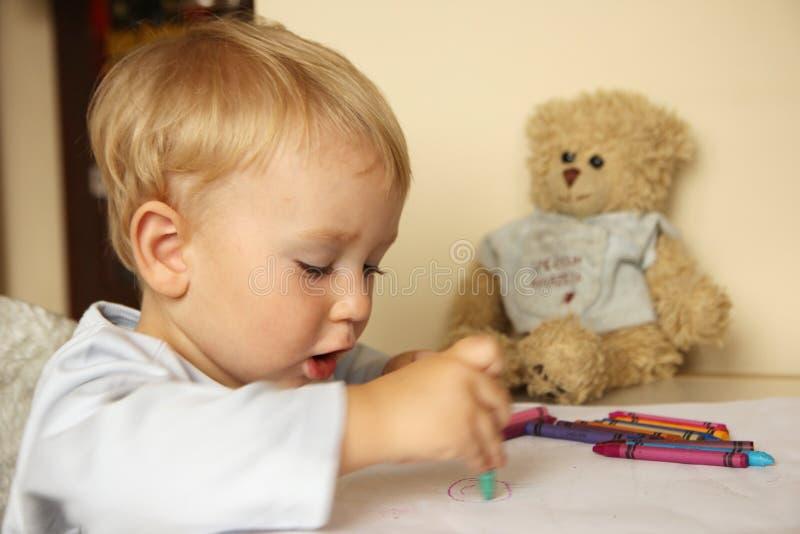 Baby drawing royalty free stock photos