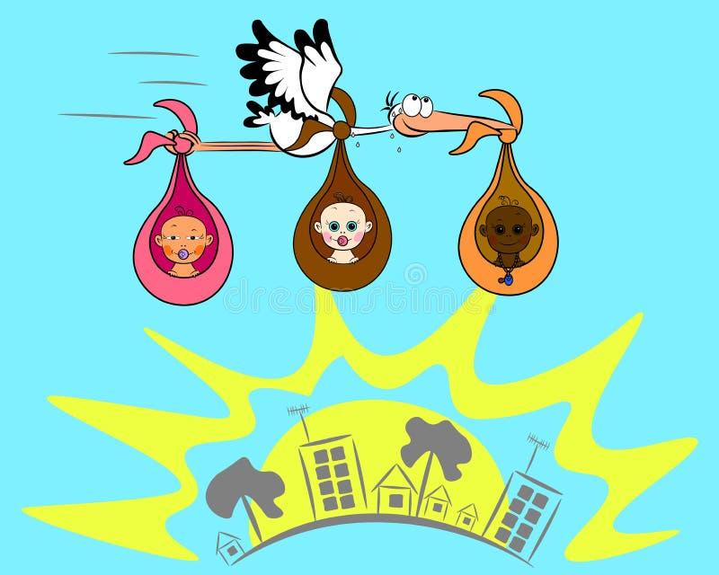 Baby drei und Storch lizenzfreie abbildung
