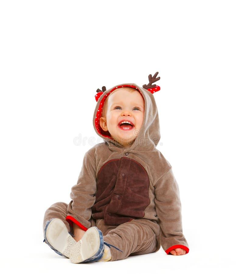 Baby dressed as Santa Claus's reindeer royalty free stock photo