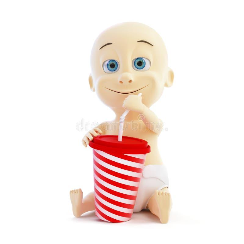 Download Baby drinking soda stock illustration. Illustration of disposable - 28783602