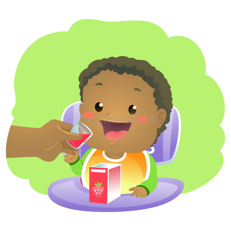 Baby drinking Vitamins Syrup. Vector Illustration of Baby drinking Vitamins Syrup vector illustration
