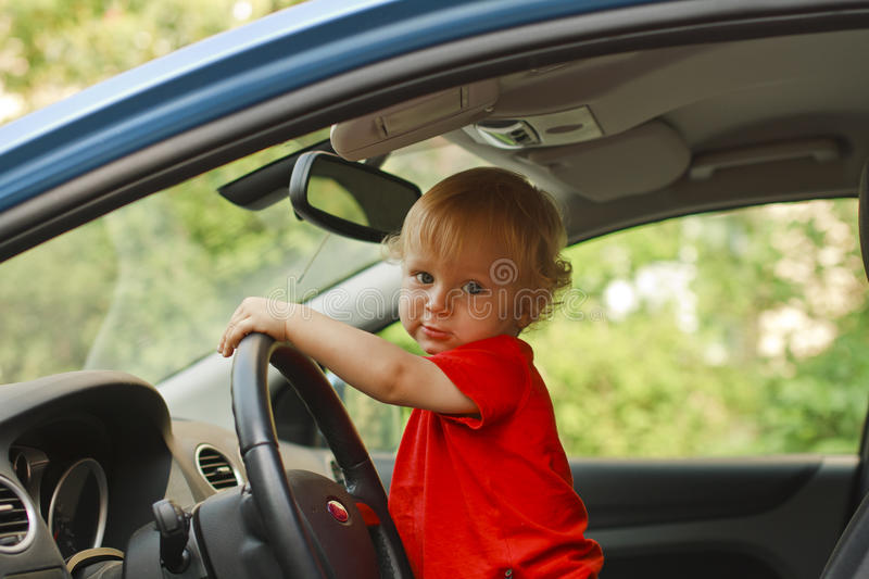 Baby driving royalty free stock photography