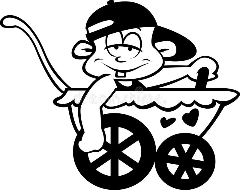 Baby driving in a pram royalty free stock photo