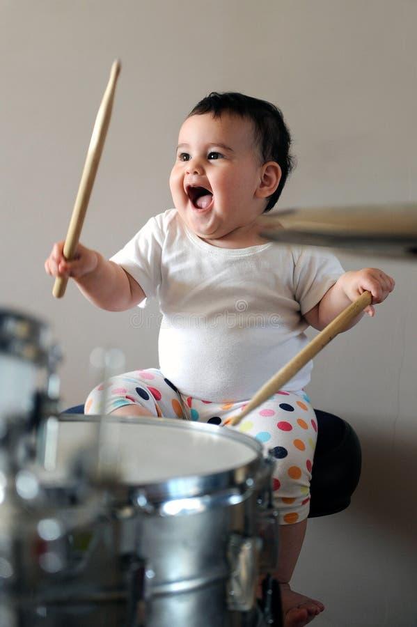 Baby drummer stock photo