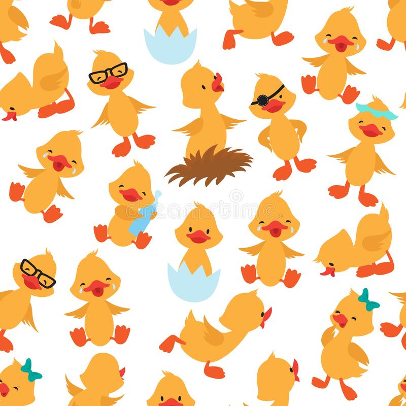 Baby duck seamless pattern. Cute ducklings kids album vector wallpaper stock illustration