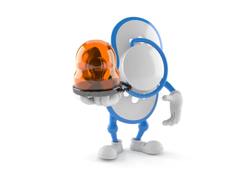 Baby dummy character holding emergency siren. Isolated on white background. 3d illustration vector illustration
