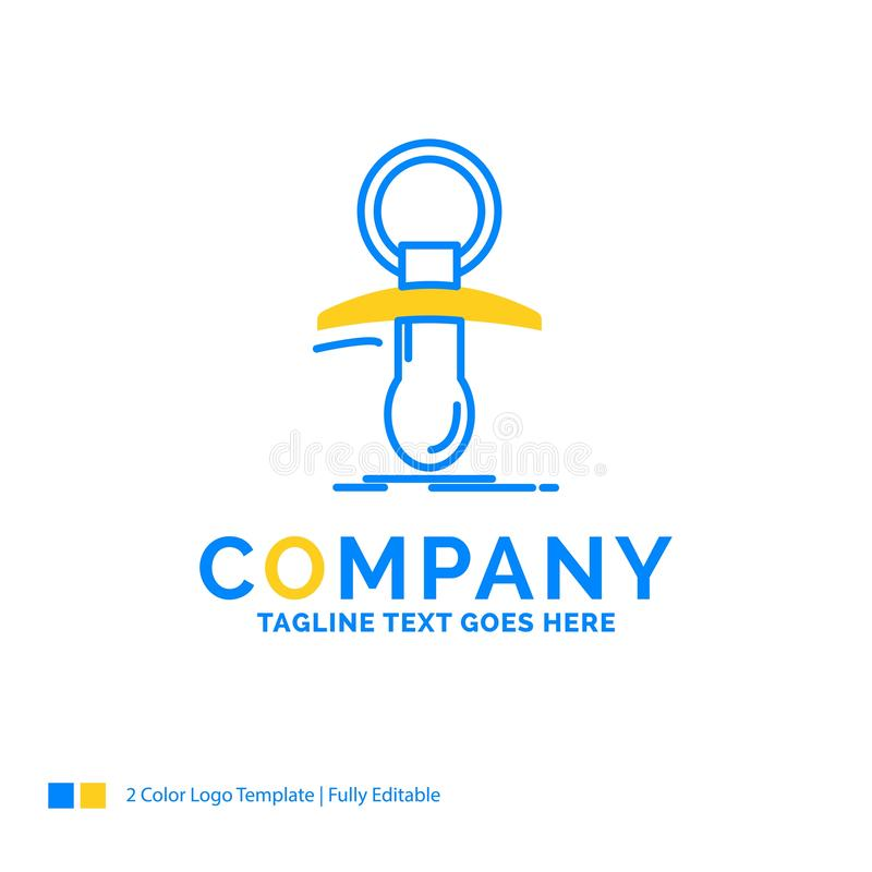 Baby, dummy, newbie, nipple, noob Blue Yellow Business Logo temp. Late. Creative Design Template Place for Tagline royalty free illustration