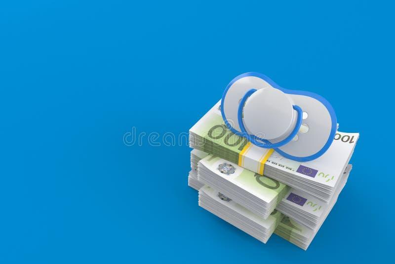 Baby dummy on stack of money. Isolated on blue background. 3d illustration royalty free illustration