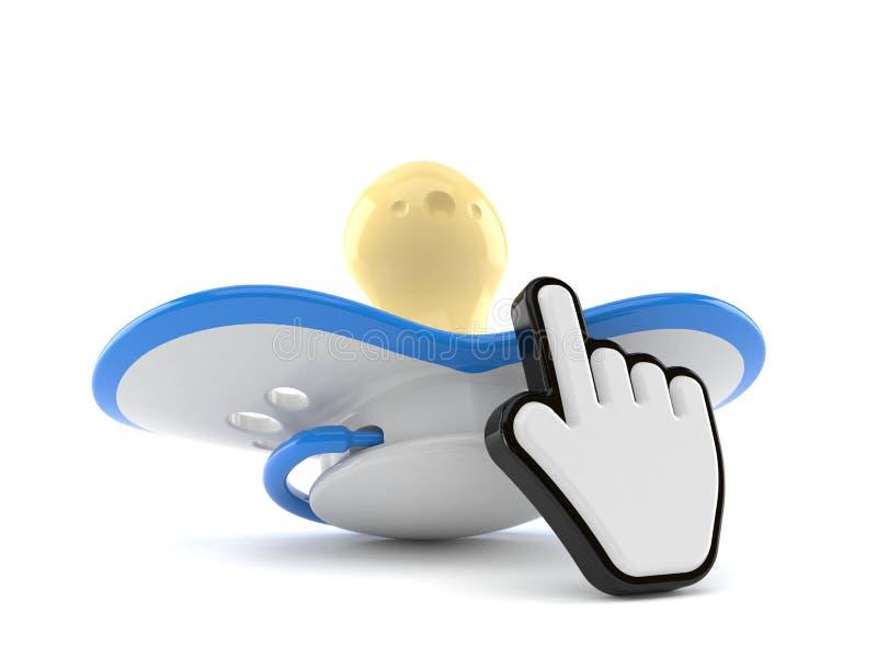 Baby dummy with web cursor. Isolated on white background. 3d illustration royalty free illustration