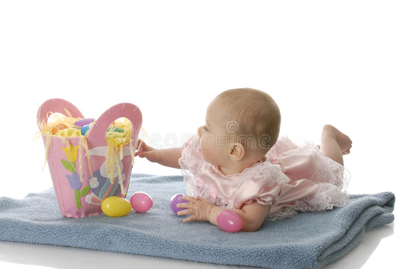 Download Baby with easter basket stock photo. Image of costume - 13088892