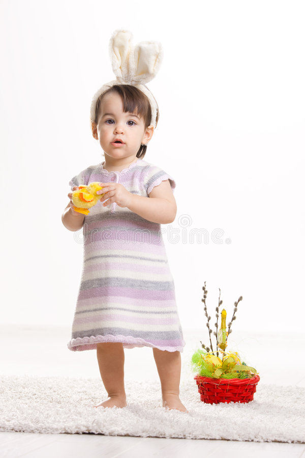 Baby In Easter Bunny Costume Royalty Free Stock Images