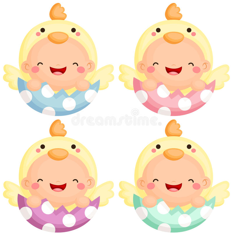 Baby in Easter Chick Costume vector illustration