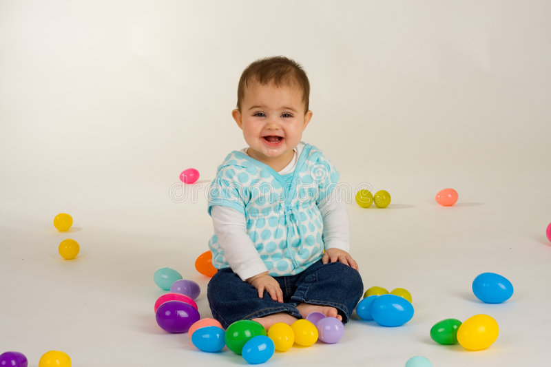 Download Baby and Easter Eggs stock photo. Image of girl, easter - 4974742